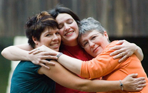 Teresa, Mary and Brenda - hugging